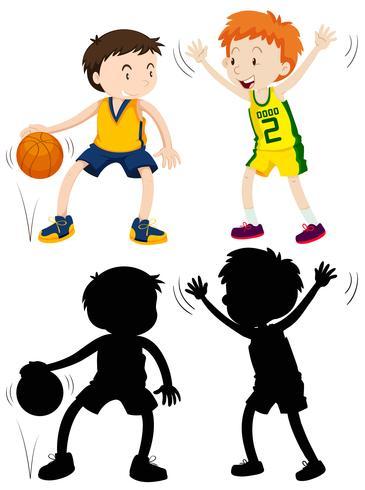 Twee jongens spelen basketbal vector