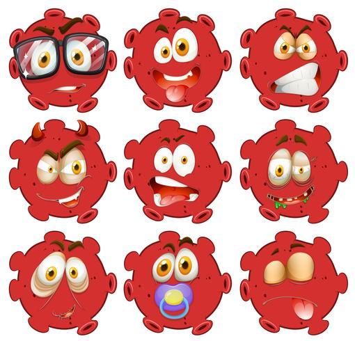Rode bal met gezichtsuitdrukkingen vector