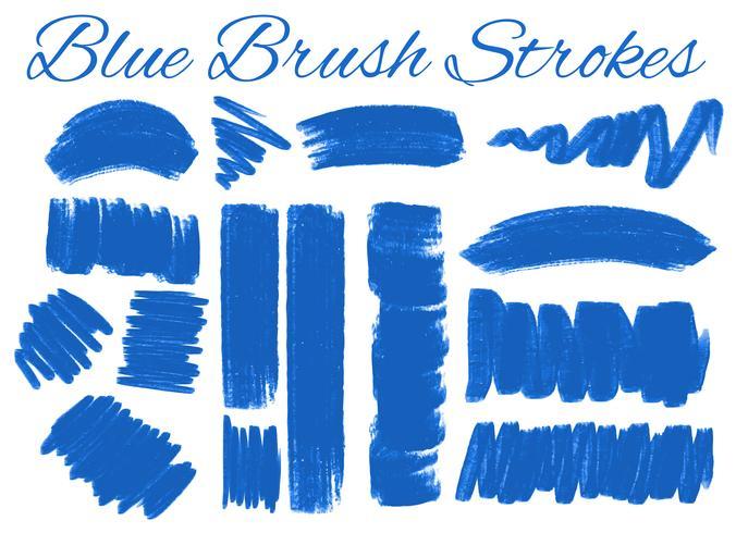 Set van blauwe penseelstreken vector
