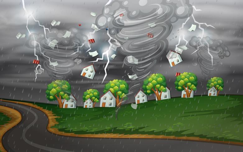 Cycloon raakte het landelijke dorp vector