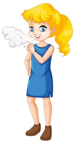 Een tiener die op witte achtergrond rookt vector