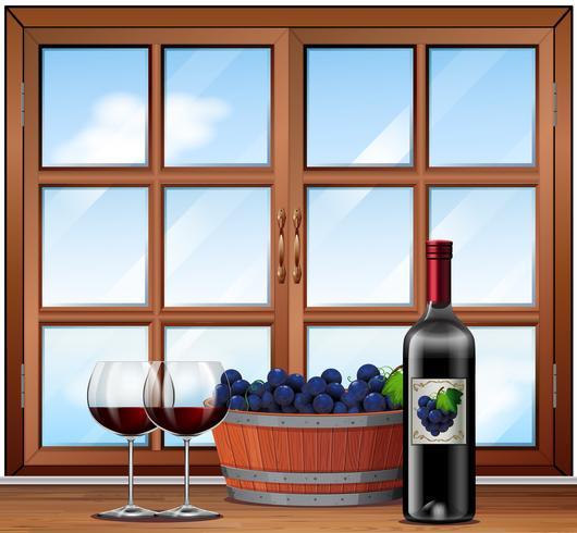 Rode wijn in glazen met een barrel van druivenachtergrond vector