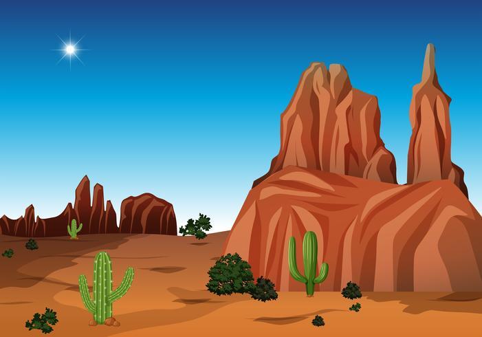 Woestijnscène met canion en cactus vector