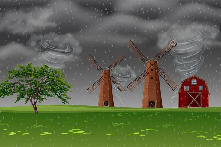 Storm op de boerderij vector