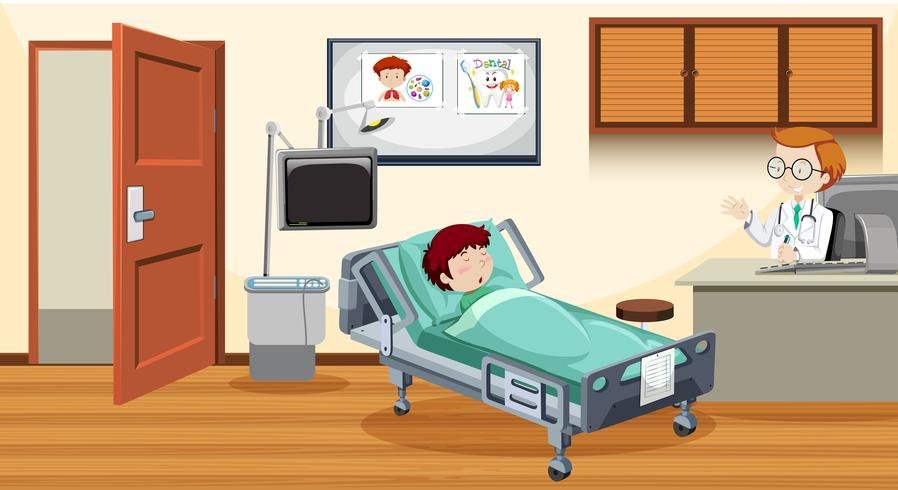 Ziek kind in bed in het ziekenhuis vector