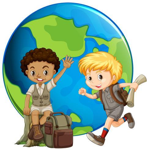 Twee jongens voor de aarde vector