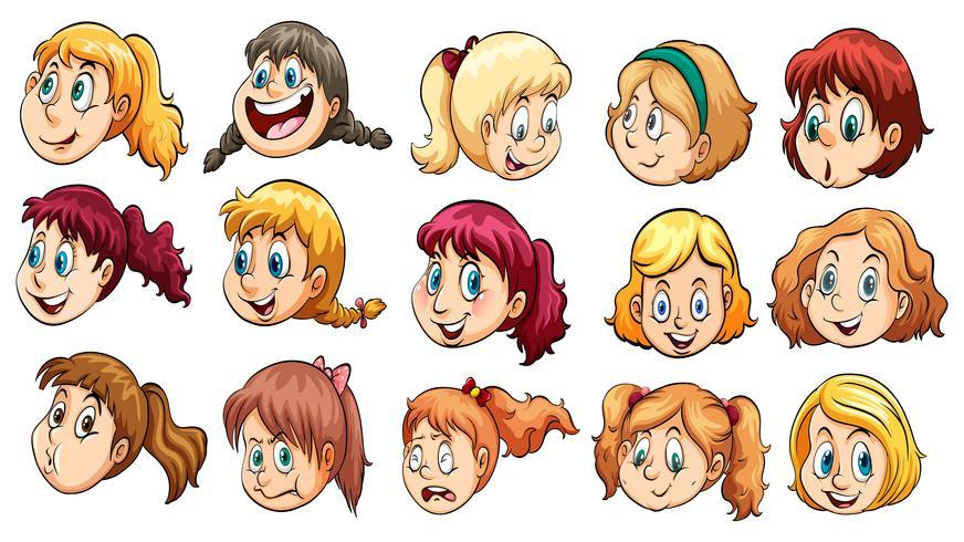 Dames hoofden vector