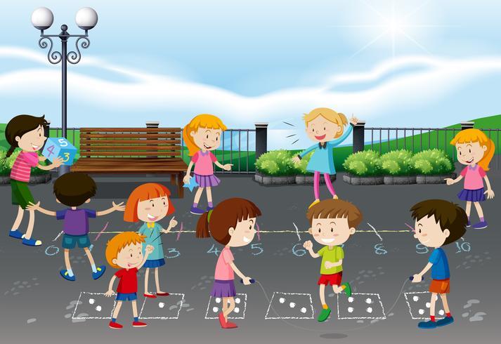Kinderen spelen op speelplaats vector