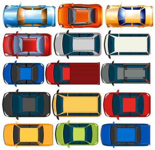 Bovenaanzicht van auto's en vrachtwagens vector