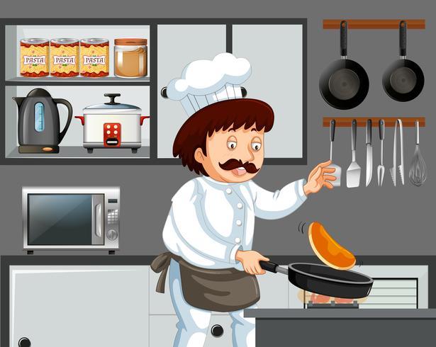Een kokende pannenkoek in de keuken vector