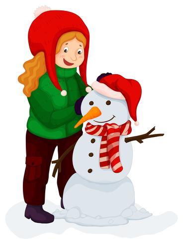 Meisje speelt met sneeuwpop vector