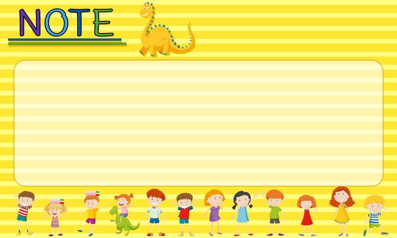 Papiersjabloon met kinderen en draken vector