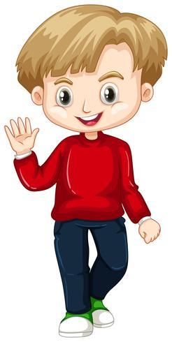 Leuke jongen zwaaiende hand vector