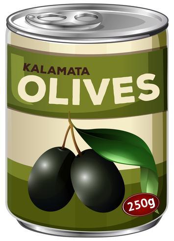Een tand van kalamata zwarte olijven vector