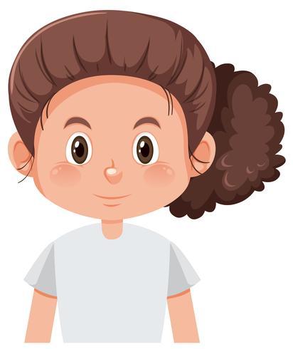 Een krullend brunette meisjekarakter vector