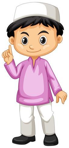 Indonesische jongen in roze shirt vector