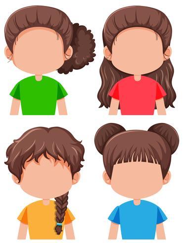 Set van brunette vrouwelijke personage vector