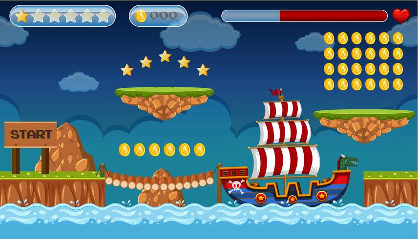 Een piraat spel sjabloon eiland scène vector