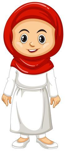 Moslimmeisje in rode en witte kleren vector