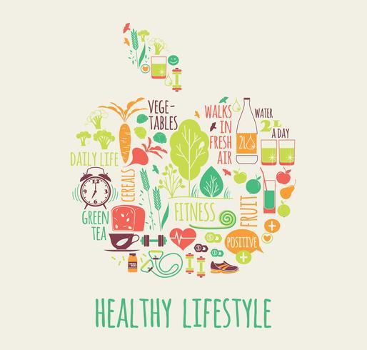 Vectorillustratie van gezonde levensstijl. vector