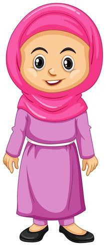 Moslimmeisje in roze kostuum vector