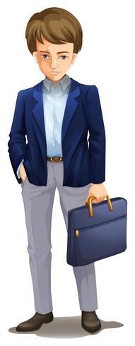Een saaie zakenman op witte achtergrond vector