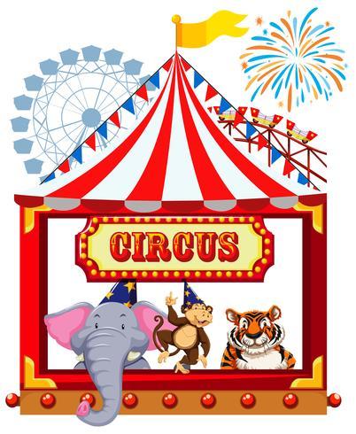 Een Circusthema met dieren vector