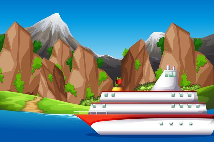 Grote boot in de zee vector