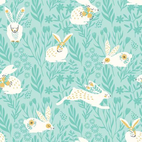 Vector naadloos patroon met konijntjes voor Pasen en andere gebruikers.