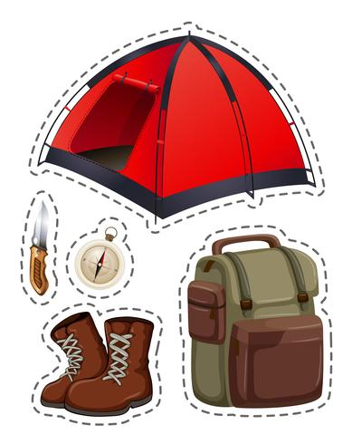 Camping set met tent en andere objecten vector