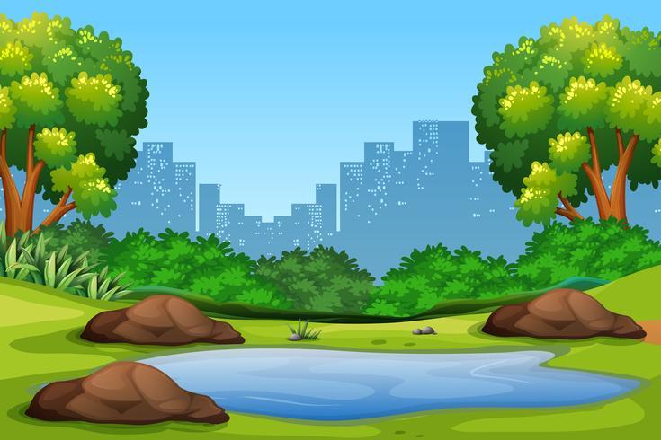 Groene natuur park achtergrond vector