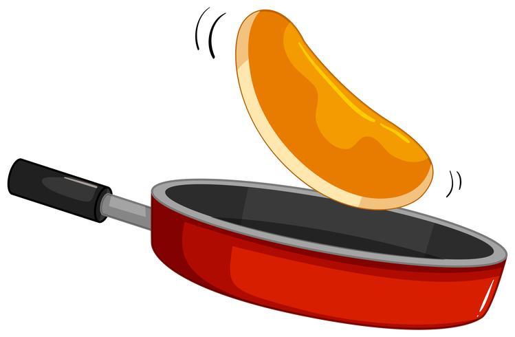 Pannenkoek flipt op de pan vector