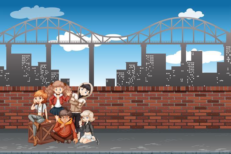 Een groep tieners in stedelijke scène vector