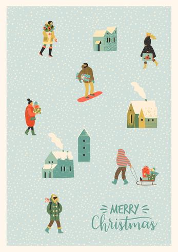 Kerstmis en gelukkig Nieuwjaar illustratie whit mensen. Trendy retro-stijl. vector
