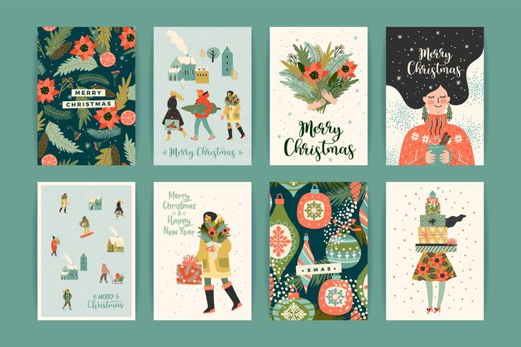 Sjablonen voor Kerstmis en Gelukkig Nieuwjaar. Trendy retro-stijl. vector