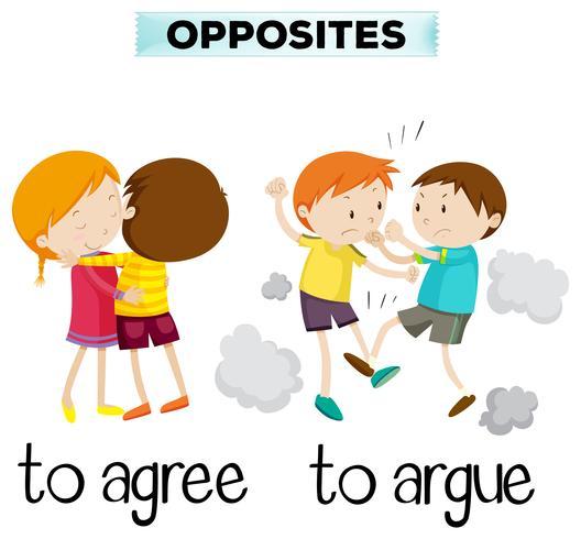 Tegenover woorden om mee eens te zijn en te argumenteren vector
