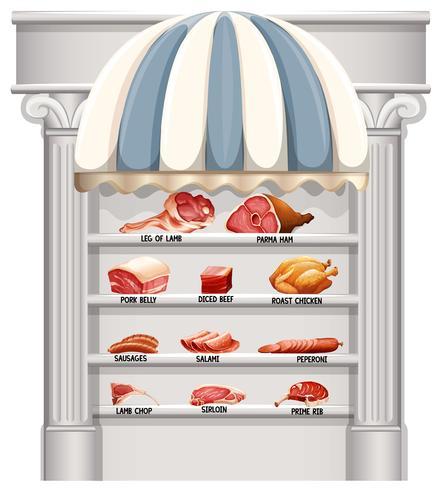 Planken vol met verschillende soorten vlees vector