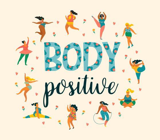 Lichaam positief. Happy plus size meisjes en een actieve gezonde levensstijl. vector