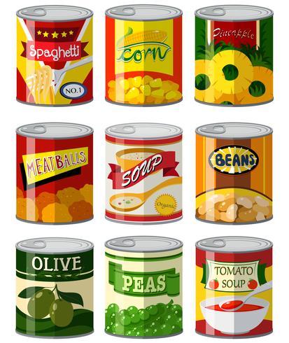 Verschillende soorten voedsel in blik vector