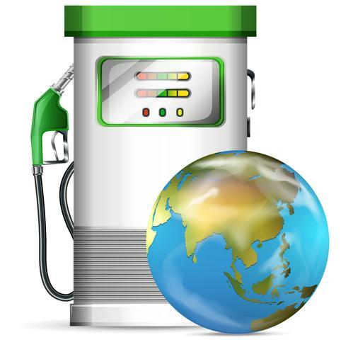 Benzinepompstation met wereldbol vector