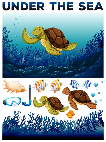 Ocean thema met leven onder water vector
