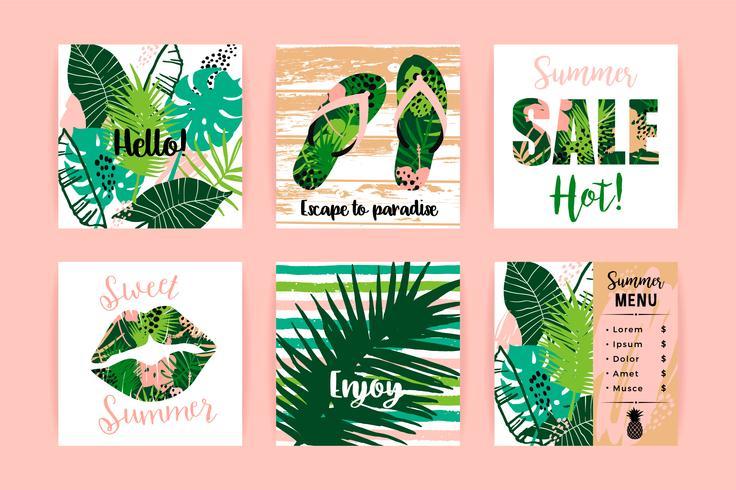 Set van tropische zomerontwerpen. Vector sjablonen.