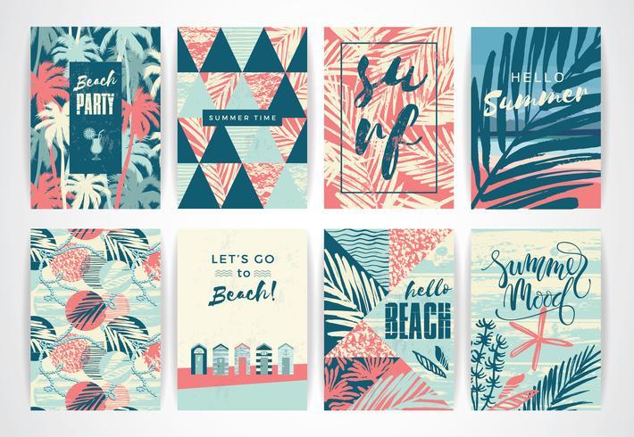 Set van zomer kaarten met hand-tekening elementen. vector