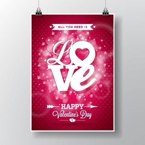 Vectorvliegerillustratie op een Valentine-dagthema met Liefde typografisch ontwerp vector