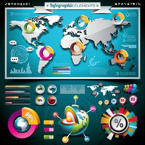 Wereldkaart en informatiegrafiek vector