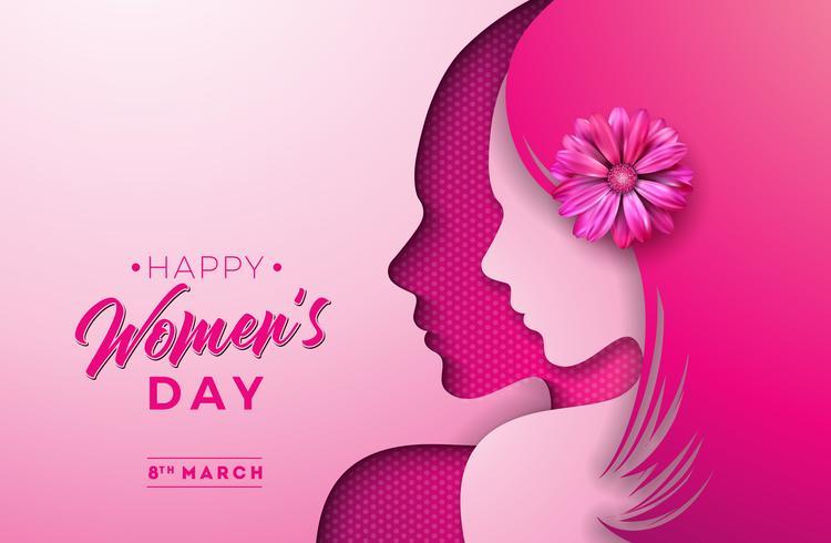 8 maart. Ontwerp van de de groetkaart van de vrouwendag vector