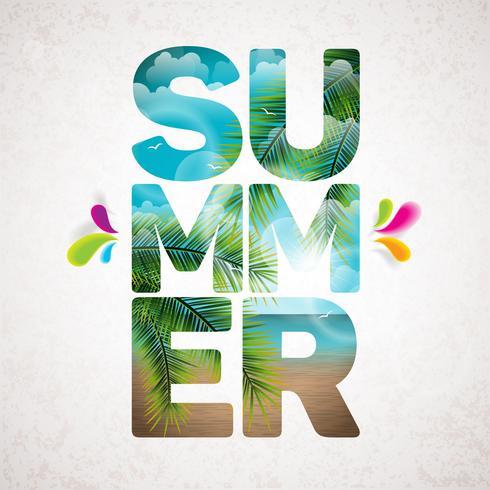 Vector zomervakantie typografische illustratie met tropische planten en bloemen