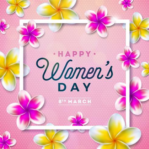 8 maart. Happy Womens Day Floral Greeting-kaart. vector