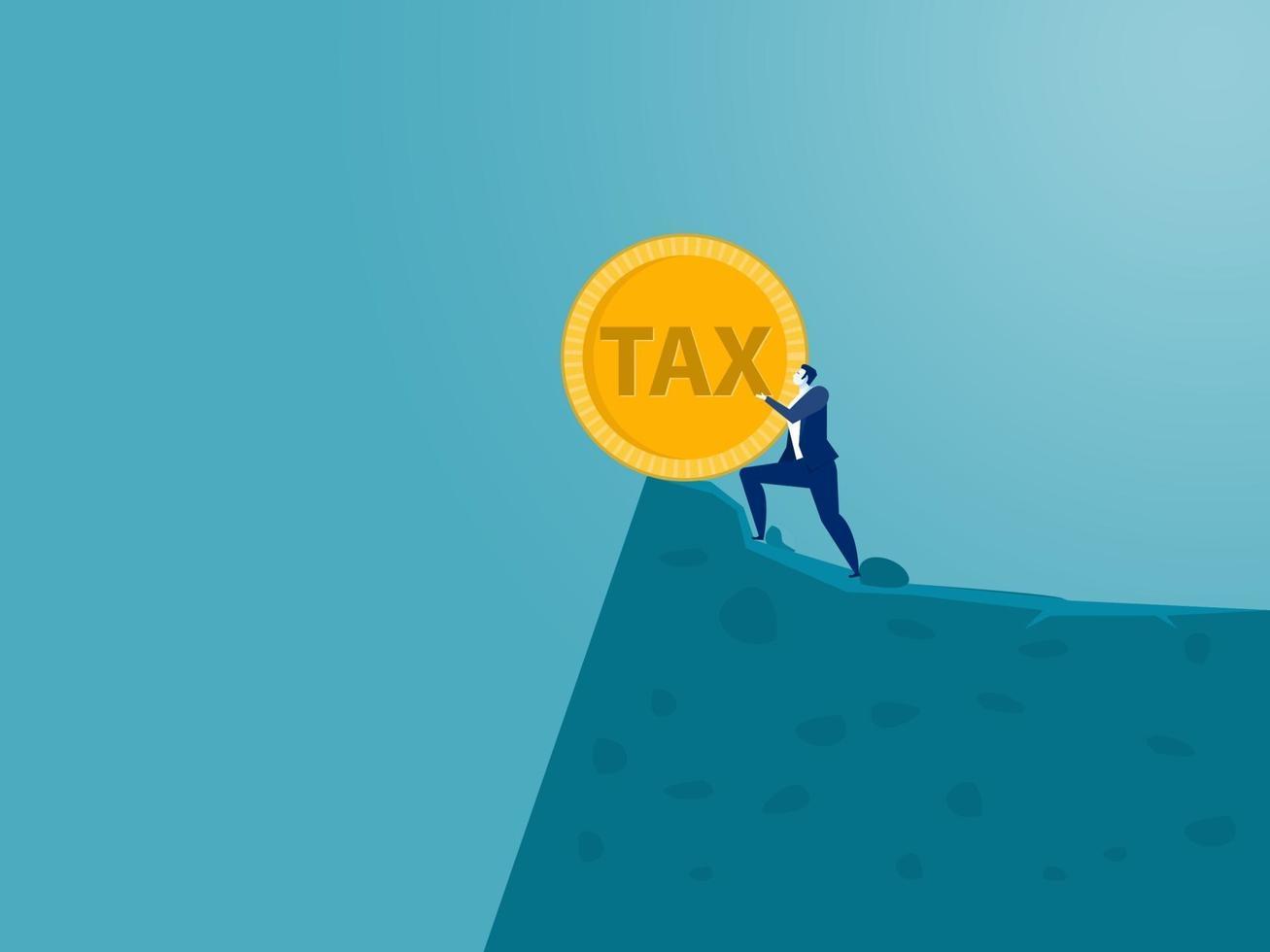 zakenman duwt het woord belasting vanaf de top van de heuvel. vector