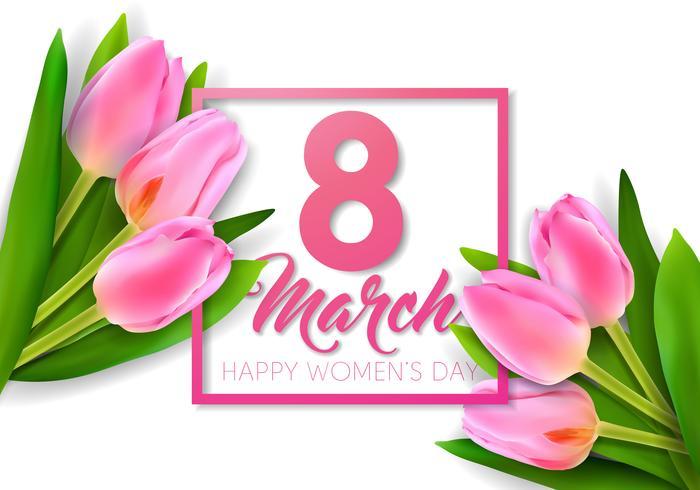 Ontwerp van de de groetkaart van gelukkige vrouwen het bloemenontwerp vector